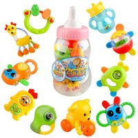 Wholesale 10pcs High Quality Feeding Bottle Baby Teether Rattles Mobiles Baby Toys Learning Education