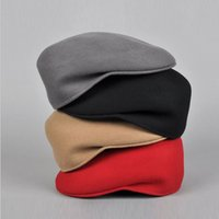 Wholesale Mens luxury REAL Wool Winter Beret Cap Cabbie Newsboy Flat Hat Gatsby Driver
