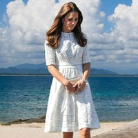Wholesale New Women Dress Hot Sale Princess kate Dress White Dress Hollow Out Cotton Dress High Quality