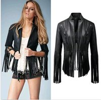 Wholesale Sexy Women Leather Coat Punk Tassels Fringe Black Biker Motorcycle Soft Leather Jacket DH04