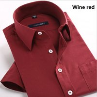 big red variety - Summer Style Pure Color Lapel Leisure Men Short Sleeve Shirt A Variety of Color Choose A Big Size S M L XL XXL XL
