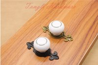 Wholesale 10 white vintage ceramic door knob handle pull with silver circle for cabinet kitchen and drawer