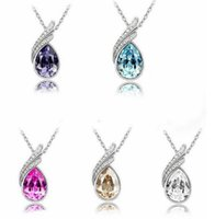 austrian crystal jewelry - High quality austrian crystal jewelry sterling silver jewelry set with diamond necklace and a pair of earrings Swarovski Crystal