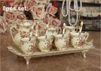 tea cups - 000379 New Released Set Vintage EU Style Exquisite High grade Ivory Porcelain Tea Set Coffee Cup Set