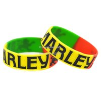 Wholesale Drop Shipping BOB MARLEY Wristband Silicon Bracelet quot Wide Band Multicolours Adult Size