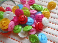 Wholesale HOUS Candy color Resin Smile Button Children s clothing buttons and DIY Crafts