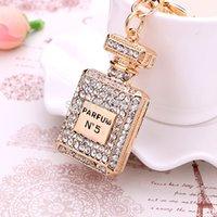 trinkets - charm Crystal perfume bottle keychain trinket fashion gold plated key chain ring holder women bag car Keychain Lover Keyring