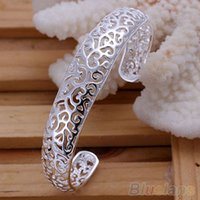 Wholesale Women Vintage Korean bangles Style Silver Plated Hollow Jewelry bracelets bangles FX PCL