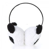 Wholesale PHFU Cute Large Fluffy Fur Plush Panda Earmuffs Winter Ear Warmer Ladies Women Girls