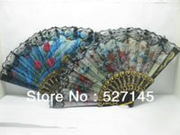 Wholesale Chinese Silk Embroidered Flower Folding Fans