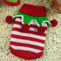 Pet Dog Sweater Stripe Design for Christmas Holiday Puppy Clothing Winter Knitwear