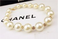 big pearl pendant - hot sale Wholesales designer jewelry big pearl necklace fashion Beaded CZ diamond Necklaces jewellery