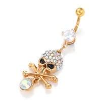bell skull - Crazy Belly Piercing Navel New Sexy Skull Belly Button Rings Body Piercing Jewelry Gold Dangle Belly Rings
