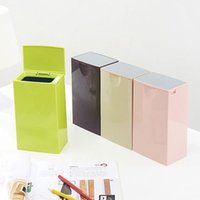 trash can - Quality Material ABS PP Mini Trash Can With Lid Fashion Candy Color Desktop Car Waste Bins Durable Sundries Storage Bucket Home Decoration