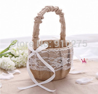 Wholesale 2016 Rustic Wedding Hessian Burlap Lace Flower Girl Basket Party Birthday Favors Bridal Accesories