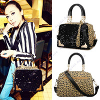 Wholesale New hot sale women Leopard Sequins Style Designer Synthetic Leather Tote Handbags Shoulder Messenger Bags SV000865