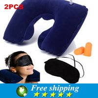 air aviation - Hot sale U shaped inflatable neck pillow travel pillow aviation three piece portable travel air pillow goggles earplugs X2