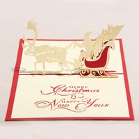 Wholesale 10pcs Handmade D Pop Up Greeting Cards Hollow Kirigami Snowman Reindeer Tree Design Postcards X mas Festival Favors HX539