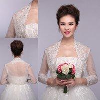 Wholesale Shining Applique Wedding Bridal Warps with Tulle Beaded High Neck Sheer Long Sleeve White Beaded Wedding Bridal Jacket ZAHY