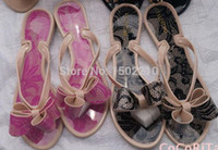 Wholesale New Arrives Lace brand Sandal plastic studs rivet Layered bow flip flops Womens shoes Rubber Jelly Thong Sandals