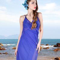 Wholesale 2015 Hot Sale New Style Women Thin Silk Scarves Big Condole Belt Prevent Bask In Chiffon Beach Towels Shawl