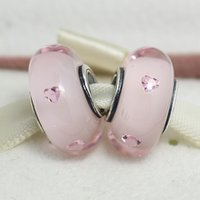 Cheap 5pcs S925 Sterling Silver Threaded Screw Pink Hearts Murano Glass Beads Fit Pandora Charm Jewelry Bracelets & Necklaces