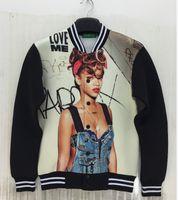 baseball posters - New Men s jacket Coats D stereoscopic posters Rihanna printing Space cotton jacket Baseball uniform