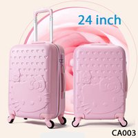 Wholesale 24 inch Spinner Hello Kitty Suitcase ABS Luggage Bag Girl Travel Bag Hello Kitty Luggage case trolley case CA003