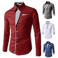 Wholesale Hot sale Fashion shirts Mens Long sleeve shirt Slim trend men s shirt casual shirts sport shirts dress clothing colors M XL