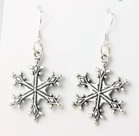 big china - 22x46mm Tibetan Silver Big Dots Snowflake Charm Pendant Earrings Silver Fish Ear Hook Dangle Chandelier Jewelry E737