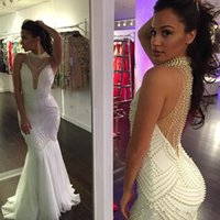 Wholesale Sexy Backless Evening Dresses Plus Size Mermaid Pearls Sweep Train Sheer Halter Celebrity Gowns Party Formal Prom Dresses