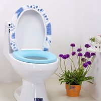 Wholesale Bathroom Warmer Toilet Seat Pad Mat Soft Closestool Pink Blue Heart Shaped Washable Lid Top Cover set WC Supplies