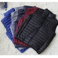 Wholesale Fall Men stand collar down jacket vest sports outdoor winter packable amp portable duck down jacket no sleeve thermal vest ultra light