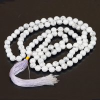 bead exclusive - Exclusive White Howlite Stone Beads Necklace Long Tassel Necklace Spiritual Yoga Jewelry For Women Bohemian Necklace