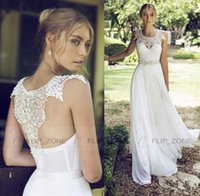 Wholesale Riki Dalal Lace Jewel Neck Wedding Dresses for Beach Wedding Party with Backless Ivory Chiffon Beaded Ribbon Cheap Long Bridal Gowns