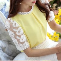 Cheap Lace Embroidery Chiffon Blouse Women Shirt Ruched Loose Blouse Short Sleeve Tops Plus Size S-XXL blusas femininas T5501