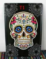 Cheap Multi Type! 20*30cm, 20 Pieces Skull Pinup Tin Sign Metal Art Print Wall Decor Mexican Calavera Art Studio Fast Free Shipping