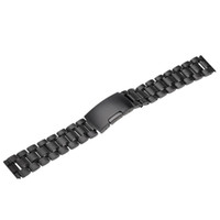 Wholesale Hot Sale black Stainless Steel Solid Links Watch Band Strap Bracelet Straight End mm mm mm mm Jewelry Accessories free s