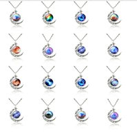 Wholesale 2015 New Fashion Galaxy Necklace Lovely Galaxy Cabochon Alloy Hollow Moon Pendant Silver Chain Necklace for Valentines Gift