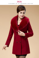 Turtle Neck age worsted - 2015 New Women Wool Blends autumn winter fashion slim Collars wool coat big yards middle aged mother woolen cloth jacket Women s Clothing