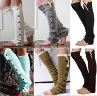 Wholesale 8 colors Women Crochet Button Down Boot Cuffs lace Button Braid Knit Leg Warmers Boot Socks Knee High Socks Frozen A906 pair