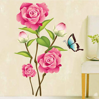 bedroom decorating designs - Wall stickers home decoration Factory direct home decoration pink rose thorn backdrop stickers living room bedroom decorated US AY713