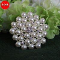 Wholesale 2 Inch cm Silver Tone Cream and White Pearl and Rhinestone Crystal Brooch colors for choices