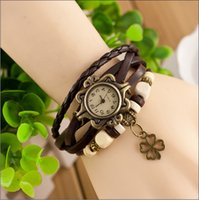 battery pendant - Fashion women ladies bracelet watch leather retro four leaf clover pendant wrist quartz dress watches for women