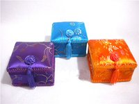 Cheap Square Decorative Lace Tassel Wedding Favor Candy Boxes Handicraft Silk Printed Gift Packing Cases 10pcs lot mix color Free shipping