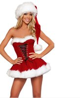 Wholesale Christmas Hats For Adults - Hot Sexy Christmas dresses Costumes for women Adult Red Strapless Corset Top+Skirt+Hat Santa Claus Costumes outfits Fantasy Sensual ladies