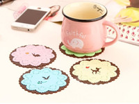 Wholesale Creative Household Supplies Round Silicone Coasters Cute Coasters Cup Mat Random Color