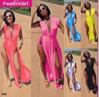 Wholesale 6 Colors Plus size S XL Summer Fashion Women Sexy Long Dress High Slit Maxi Dresses Deep V Neck Beach Club Dress LB9476