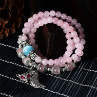 Wholesale South Korean jewelry natural crystal bracelet with diamond powder fox hand act the role of fate preventable Multilayer beaded crystal