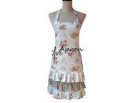 cotton apron - Vintage Retro Women Kitchen Apron Cooking White Cotton Linen Floral Rose Layers Ruffled Salon Apron
